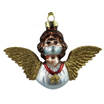 Holiday Ornament Angel With Mask Covid 19 Wings Christmas - GO8059