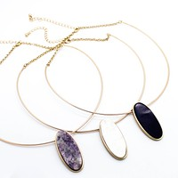 Oval stone collar necklace (3 colors)