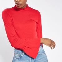 Long Sleeve Pie Crust Frill Neck Top - Workwear - Clothing