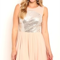 Short Prom Dress with Sequin Illusion Bodice and Deep V Back
