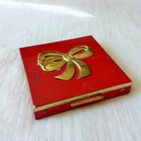 Vintage 1950s Red Brass and Enamel Compact