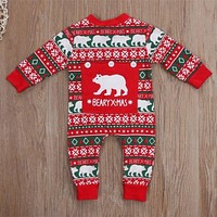 born Baby Boy Girl Christmas Costume Print Baby Rompers Long Sleeve Winter Crawling Kids Clothes Romper Jumpsuit