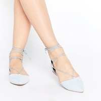 Call It Spring Cinnabar Light Blue Lace Up Ghillie Flat Shoes at asos.com