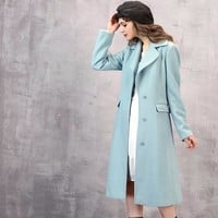PLT Pale Blue Fitted Wool Blend Long Coat