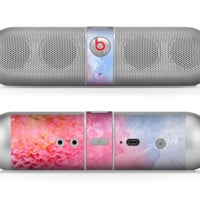 The Pink to Blue Faded Color Floral Skin for the Beats by Dre Pill Bluetooth Speaker