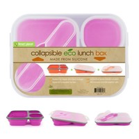 Smart Planet EC-34 Large 3-Compartment Eco Silicone Collapsible Lunch Box, Pink