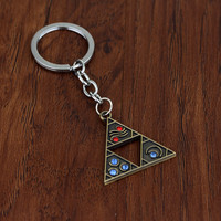Vintage Style The Legend of Zelda Keychain Latest Game Series Keyring Triangle Pendant Metal Key Chain For Men And Women