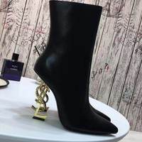 YSL Yves Saint Laurent  fashion female Stretch Knit leather Leather Zipper Ankle Short Boots Flats High Heels Shoes Winter Autumn