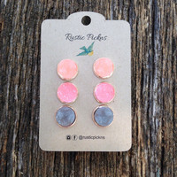 Druzy Set of 3 in Rose Gold