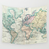 Vintage Map of The World (1801) Wall Tapestry by BravuraMedia