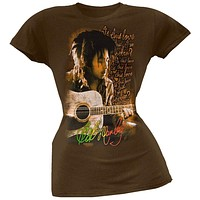 Bob Marley - Is This Love Juniors Brown T-Shirt