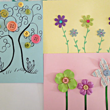 Spring Themed Blank Inside Cards Set of 3 Floral Theme Spring