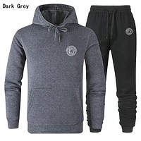 VERSACE Fashion Women Men Leisure Hooded Top Sweater Pants Trousers Set Two-Piece Sportswear Dark Grey