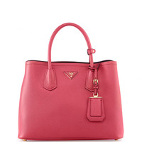 Saffiano Cuir Small Double Bag, Fuchsia (Peonia)