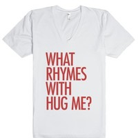 What rhymes with hug me? Blurred Lines Tee Shirt-White T-Shirt