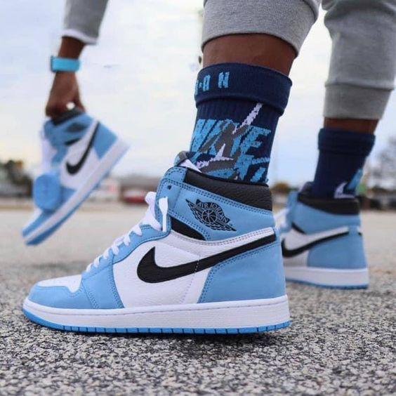 Image of NIKE Air jordan 1 AJ1 men's and women's stitching color high-top basketball shoes sneakers #5