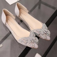 new women shoes 2018 spring summer flats crystal butterfly shoes pointed toe female Shoes transparent Leather casual footwear