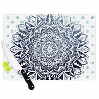 "Nika Martinez ""Dots Mandala"" Blue White Illustration Cutting Board"