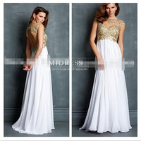 A-line Straps Lace Short Floor-length Chiffon Prom Dresses / Evening Dresses ,White Long Prom Dresses Lace Straps Long Prom Gown