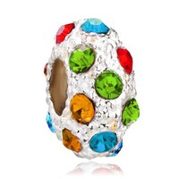 Pugster Jewelry Silver Plated Crystal Bead Fit Pandora Charms