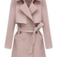 Pink Double Breasted Tie-Waist Lapel Coat