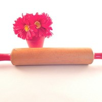 Rolling Pin Red Wooden Handles One Pound Roller 17 Inch Kitchen Tool Vintage 1940's Kitchen Pastry Baking  Retro Diner Pie Shop Decor