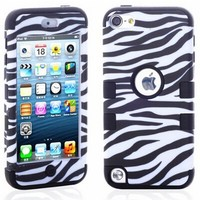 1 First Wireless Plastic + Silicone Hybrid Zebra Pattern Case for iPod Touch 5 5th Generation Black