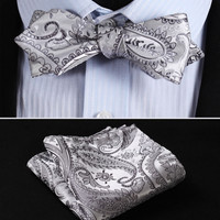 Gray Silver Paisley Floral Silk Diamond Point Tip Self Bow Tie, Pocket Square,Hanky Suit Set