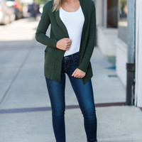 Every Other Day Cardigan, Hunter Green