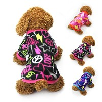 Warm Fleece Dog Clothes Graffiti Style Pet Cat Dog Coat Puppy Sweater Teddy Chihuahua Spring Coats Clothing 14