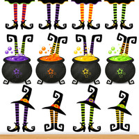 Halloween Clip Art Witch Feet Clipart Witch's Boot Shoe Cauldron Party Printable Decoration Cardmaking Invite Scrapbook Cupcake Topper Image