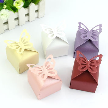 50 Pcs Butterfly Favor Gift Candy Boxes Cake Style for Wedding Party = 1933222020