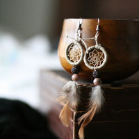Dreamcatcher Bead and Feather earrings