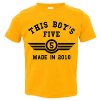 This Boy's FIVE Made in 2010 Customized Fifth Birthday Infant T Shirt Creeper Happy FIFTH Birthday Fun Shirt for Boy's FIFTH Birthday Shirt