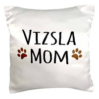 "3dRose pc_154211_1 Vizsla Dog Mom Doggie x Breed Muddy Brown Paw Prints Doggy Lover Proud Mama Pet Owner Love Pillow Case, 16"" x 16"""