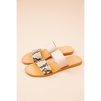 Moondance Slide on Sandal, Beige Snake