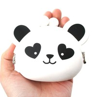 Mimi Pochi Panda Bear With Heart Shaped Eyes Animal Friends Silicone Clasp Coin Purse Pouch