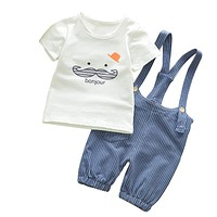 Summer Baby Boys Clothes Set Cartoon Toddler Baby Infant Girls Outfits T-shirt Bib Pants Kids Clothing Sets Tracksuit