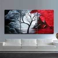 HOT SALE Modern Abstract Huge Art Oil Painting Canvas Large Tree+Free gift T01