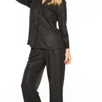 Elegant Stretch Black Pin-Dot Pajamas (Medium or 3X)