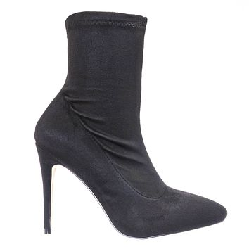 Hibiscus63 High Heel Stiletto Sock Bootie - Stretched Pointed Cloesd Toe