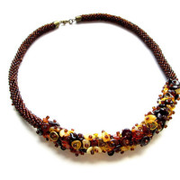 """The Retro Rope is Beautiful Handmade Necklace """"Baltic amber"""", Necklace with Baltic Amber and glass beads, Beaded necklace - rope"""