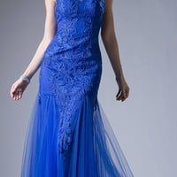 Royal Blue Illusion Sweetheart Neckline Cut Out Back Evening Gown