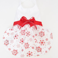 Red Satin Snowflake Dog Dress X Small Small Medium only
