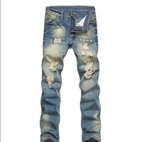 Men Men's Fashion Simple Design Strong Character Ripped Holes Jeans [320832634909]