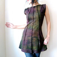 A Song to Pass the Time - iheartfink Handmade Hand Printed Iridescent Sketch Art Print Womens Tunic Top Frock
