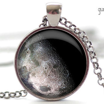 Waning Gibbous Moon Necklace, Moon Art Pendant,  Science Jewelry, Universe Necklace Gift for Him or for Her (380)