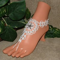 Shoes, Sandals, Wedding, Bridal, Accessories, Barefoot Sandals, Starfish, Beach, Anklet, Foot Jewelry, Footless, Beach Jewelry