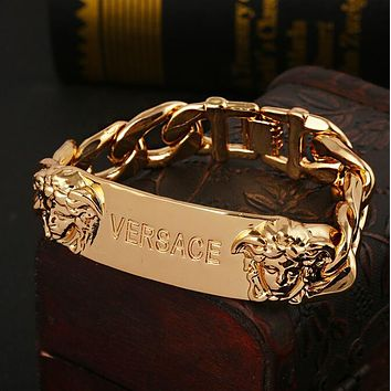 VERSACE Stylish Women Men Personality Hand Catenary Bracelet Jewelry Accessories Golden