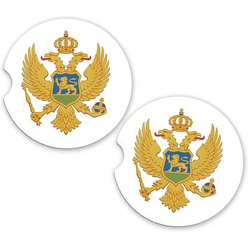 Montenegro World Flag Coat Of Arms Sandstone Car Cup Holder Matching Coaster Set